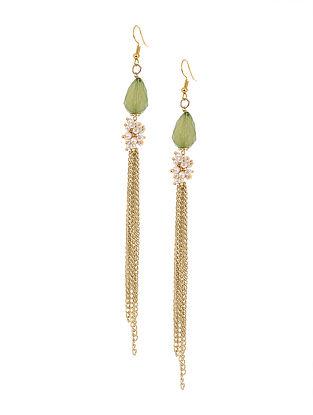 Green Gold Tone Tassel Earrings