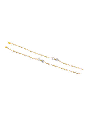 Grey Gold Tone Pearl Anklets