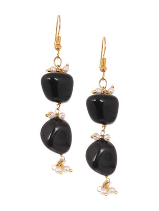Black Gold Tone Onyx Earrings with Pearls