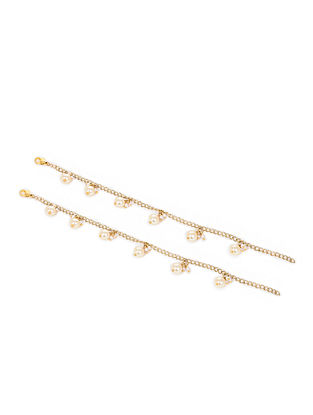 White Gold Tone Pearl Anklets