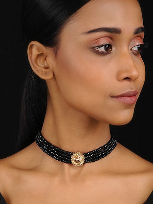 Black Gold Tone Choker Necklace