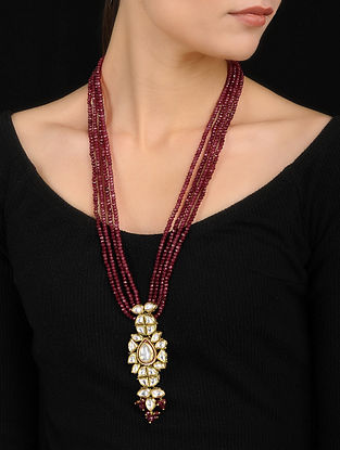 Red Gold Tone Kundan Inspired Necklace