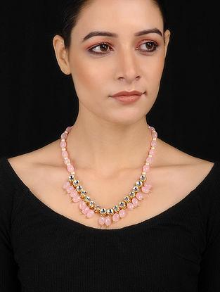 Pink Gold Tone Kundan Inspired Rose Quartz Necklace