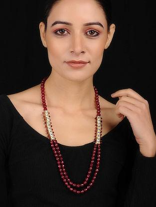 Red Gold Tone Kundan Inspired Quartz Necklace