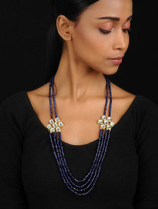 Blue Gold Tone Kundan Inspired Jade Necklace