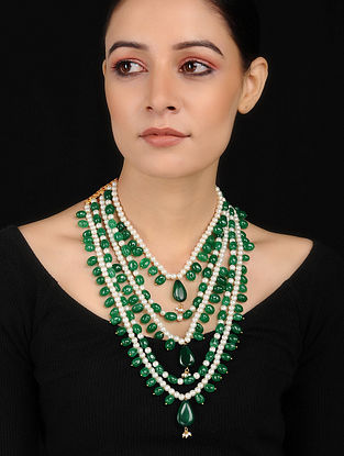 Green-White Gold Tone Jade and Pearls Necklace
