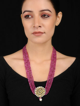 Pink Gold Tone Kundan Inspired Necklace