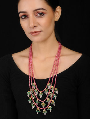 Pink-Green Kundan Inspired Rose Quartz Necklace