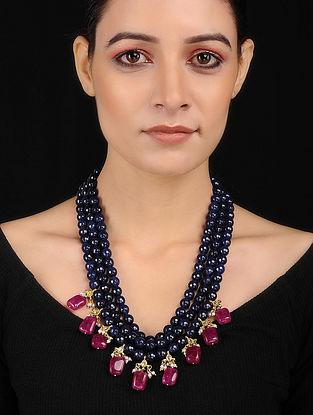 Blue-Red Kundan Inspired Quartz Necklace