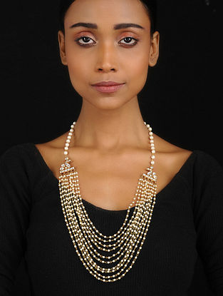 Gold Tone Kundan Inspired Pearl Necklace