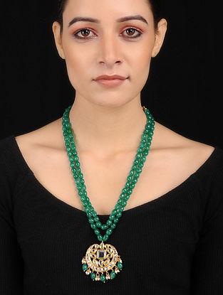 Green Gold Tone Kundan Inspired Pendant Necklace