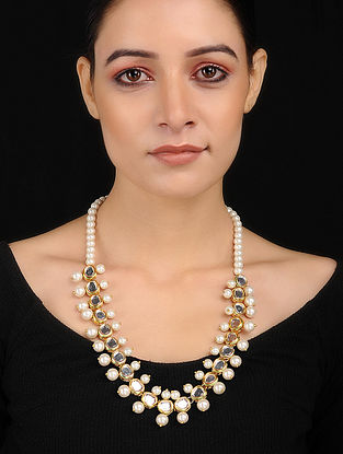 White Gold Tone Kundan Inspired Pearl Necklace