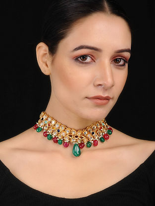 Multicoloured Kundan Inspired Choker Necklace