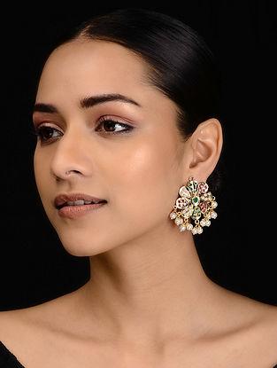 Red-Green Gold Tone Jadau Stud Earrings
