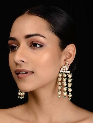 Gold Tone Polki and Pearl Earrings