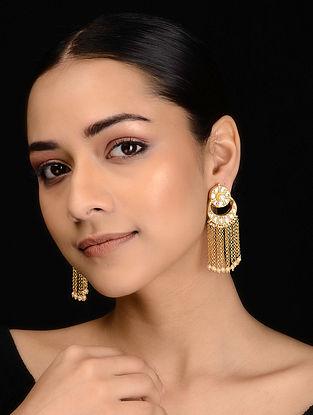 Gold Tone Kundan Inspired Tassel Earrings