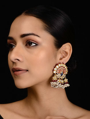 Red-Blue Gold Tone Onyx Earrings