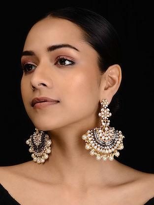 Gold Tone Kundan Inspired Victorian Pearl Chandbali Earrings
