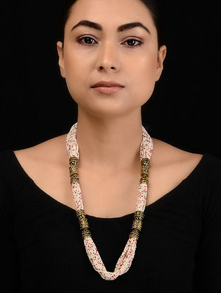 White-Red Gold Tone Pearl Necklace