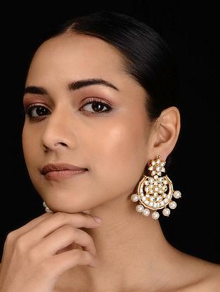 Gold Tone Kundan Inspired Pearl Chandbali Earrings