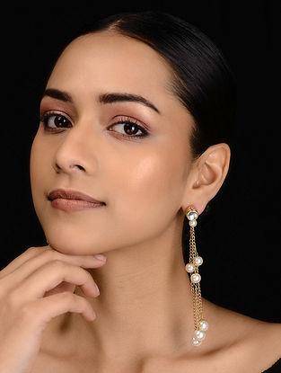 Gold Tone Kundan Inspired Pearl Earrings