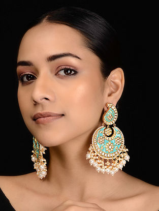 Aqua Blue Meenakari and Pearls Chandbali Earrings