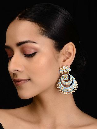 Aqua Blue Meenakari and Pearls Chandbali Earrings