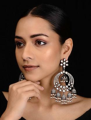 Silver Tone Victorian Polki Chandbali Earrings