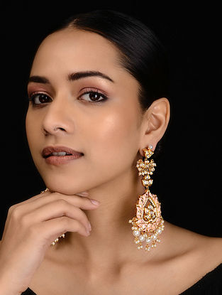 Pink Gold Tone Kundan Inspired Meenakari Earrings