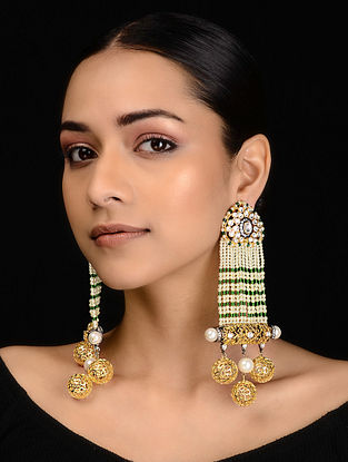 Green-White Gold Tone Kundan Inspired Pearl Earrings