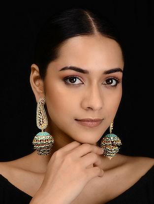 Turquoise Gold Tone Kundan Inspired Meenakari Jhumkis