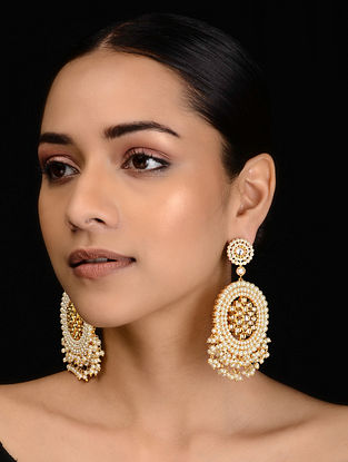 Gold Tone Kundan Inspired Pearl Earrings