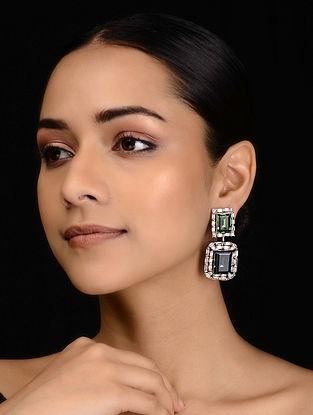 Blue-Green Silver Tone Diamante Earrings