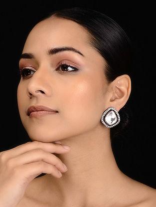Silver Tone Polki Stud Earrings