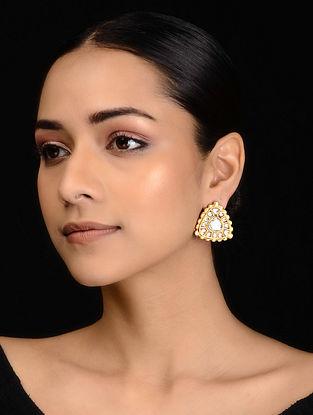 Gold Tone Polki Stud Earrings