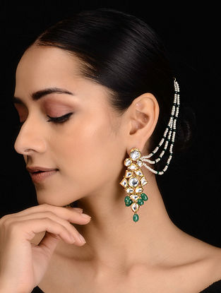 Green Gold Tone Kundan Inspired Onyx Earrings