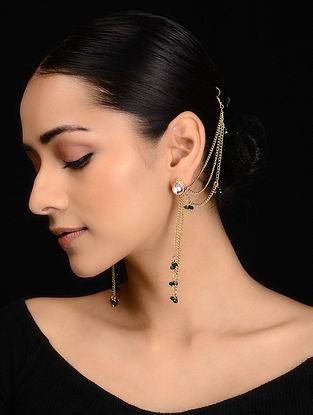 Green Kundan Inspired Onyx Tassel Earrings