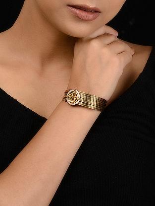 Gold Tone Kundan Inspired Pearl Cuff