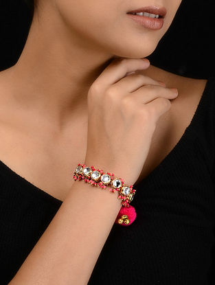 Pink Gold Tone Kundan Inspired Bracelet