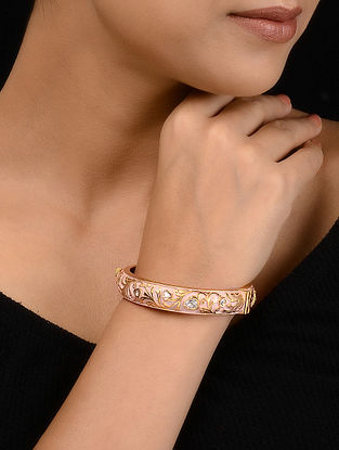 Powder pink Gold Tone Meenakari Bangle