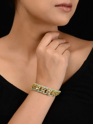 Turquoise Gold Tone Kundan Inspired Bracelet