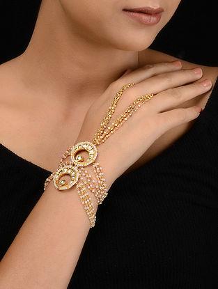 Gold Tone Kundan Inspired Pearl Haathphool