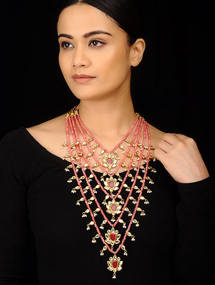 Red Gold Tone Rose Quartz and Ruby Panchlada Necklace