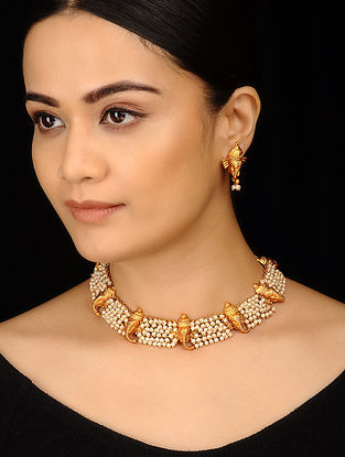 Classic Gold Tone Temple Work Pearls Cluster Necklace with Earrings (Set of 2)
