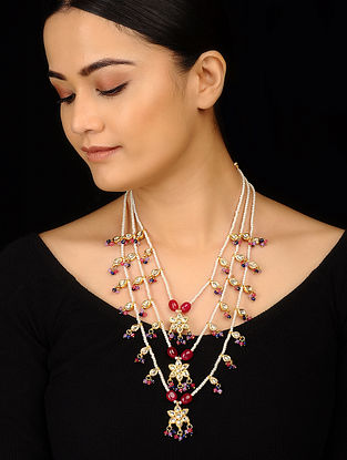 Red Blue Gold Tone Kundan Inspired Pearls Necklace