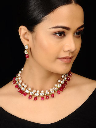 Red White Gold Tone Kundan Inspired Choker Necklace with Earrings (Set of 2)