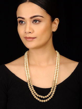 White Gold Tone Pearls and Jadau Gold Plated Necklace