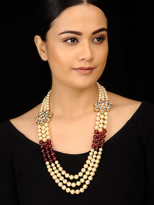 Red White Gold Tone Kundan Inspired Pearl Necklace
