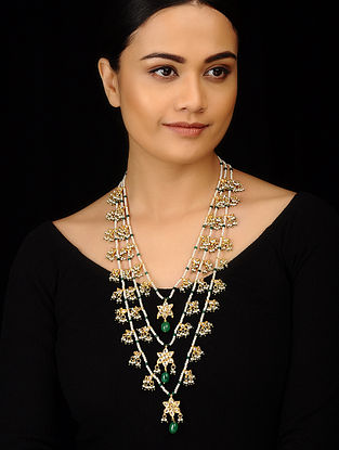 Green White Gold Tone Kundan Inspired Pearl Necklace