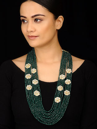 Green White Gold Tone Kundan Inspired Layered Necklace
